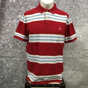 NWT Nautica Slim Fit Stripe Polo Shirt L